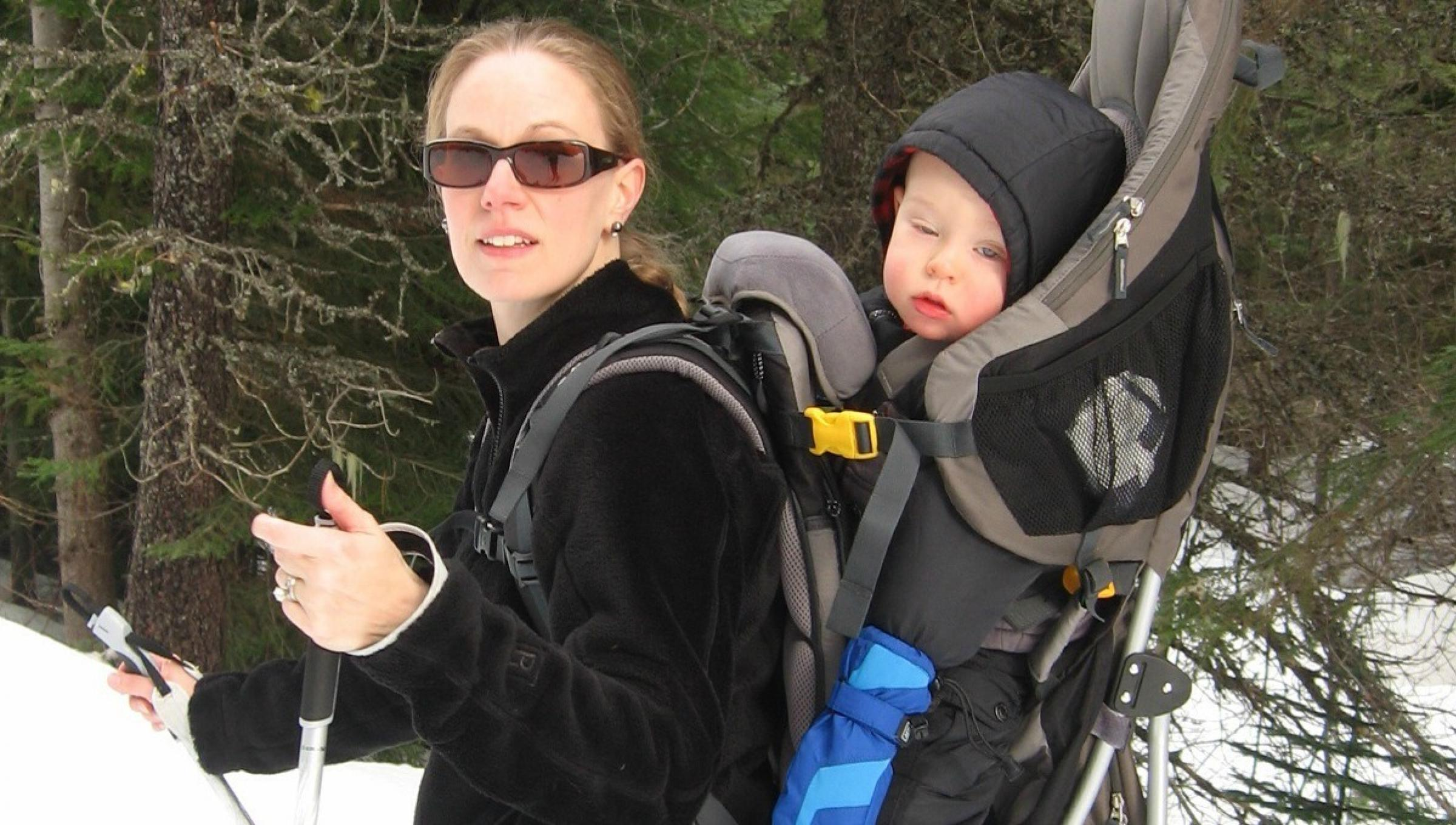 Lacey and her son cross country skiing