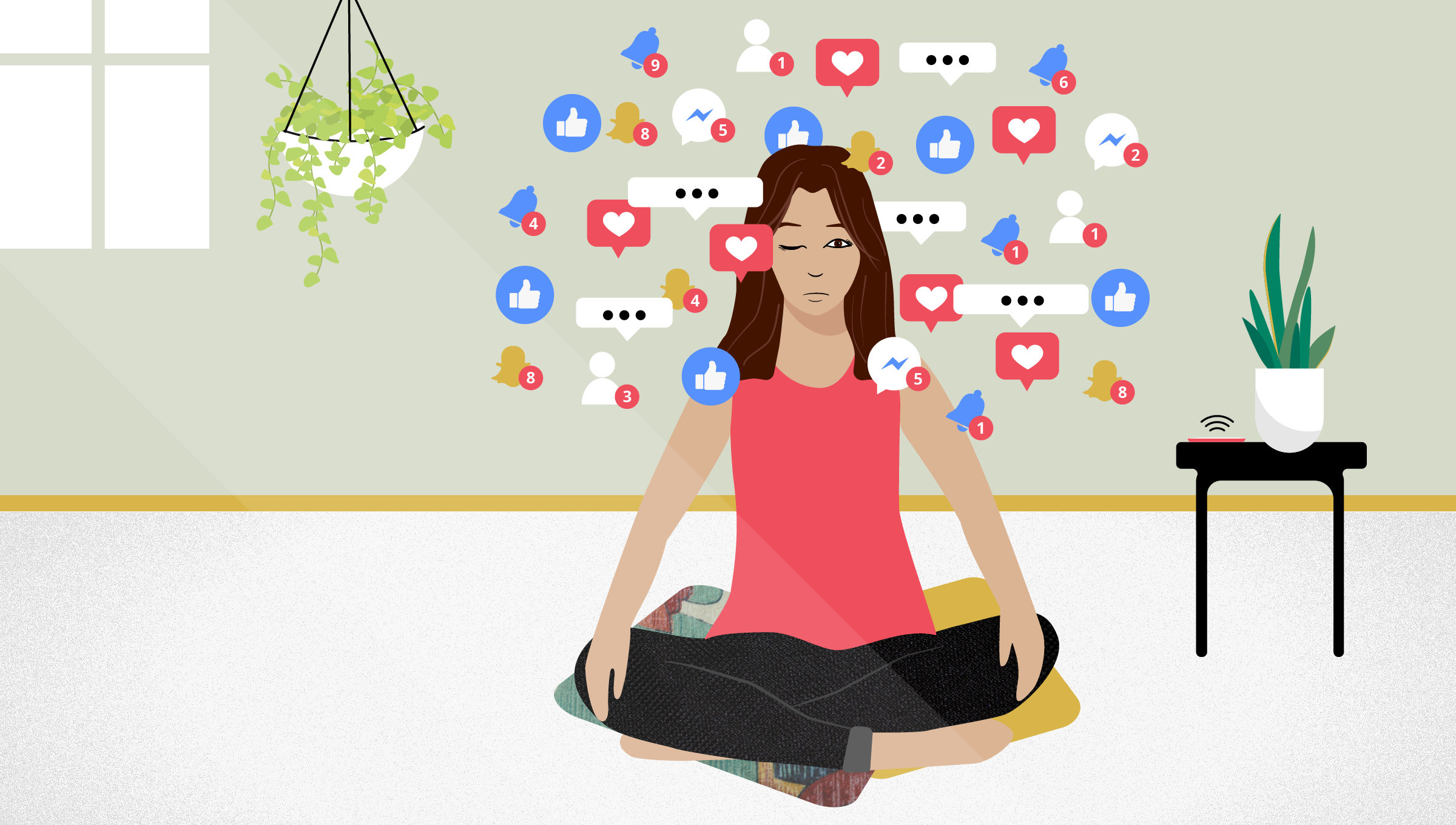 an illustration of a woman trying to meditate while social media notifications are popping up around her head