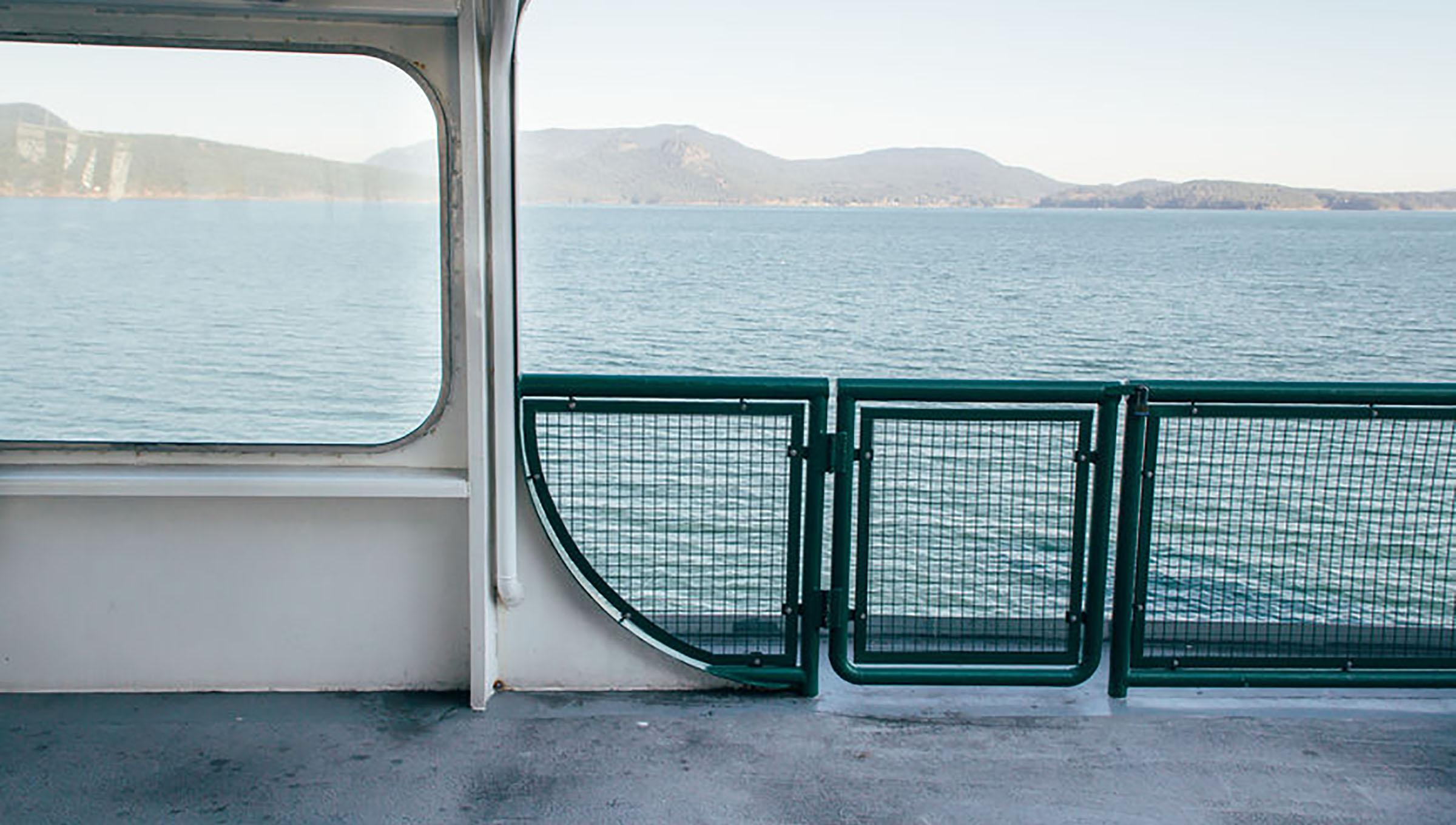 Side Rail And Enclosure On Upper Deck of Passenger Ferry Boat