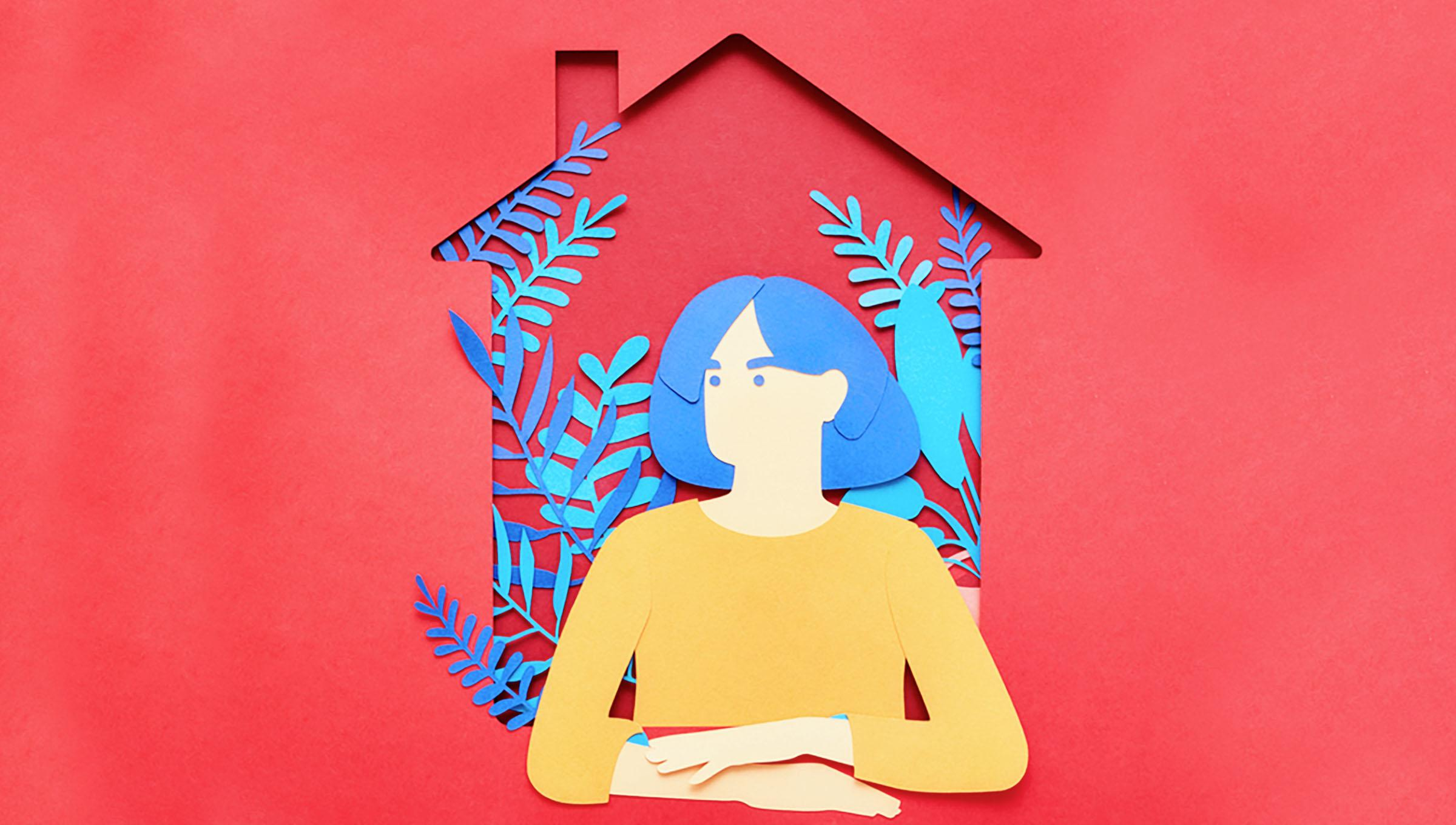 paper cut out of plants and woman staying at home during quarantine orders