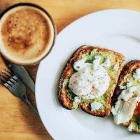 Avocado toast with eggs and a cup of coffee