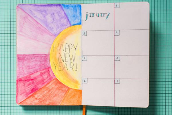 Notebook calendar open to January