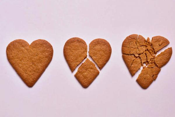 Heart-shaped cookies that are broken
