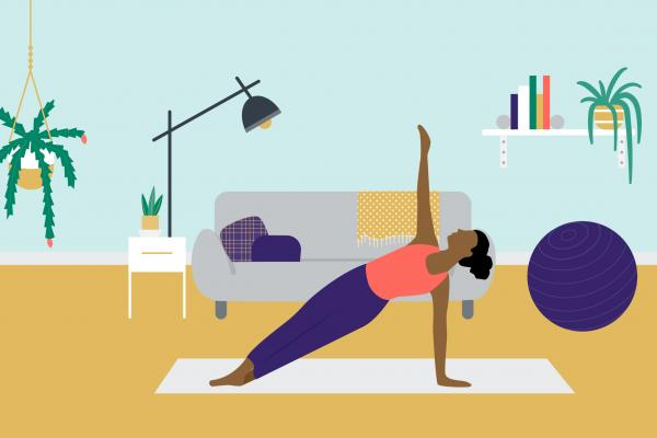 An illustration of a woman doing a side plank in her apartment.