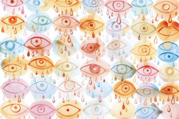 Illustrated crying eyes of all colors.