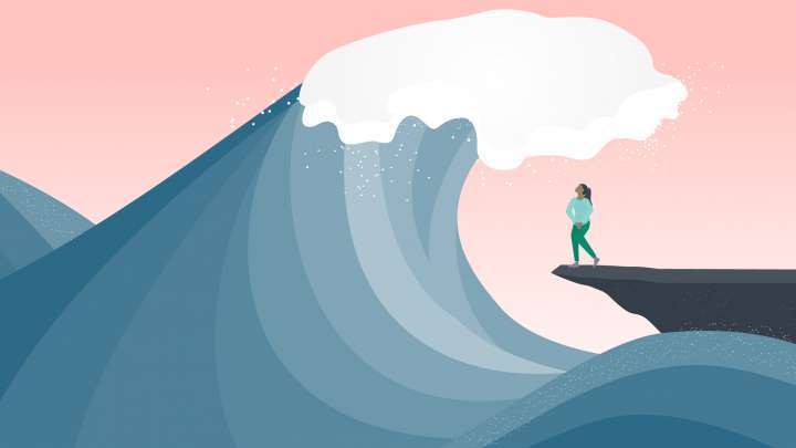 An illustrated wave looms over a woman who needs to pee