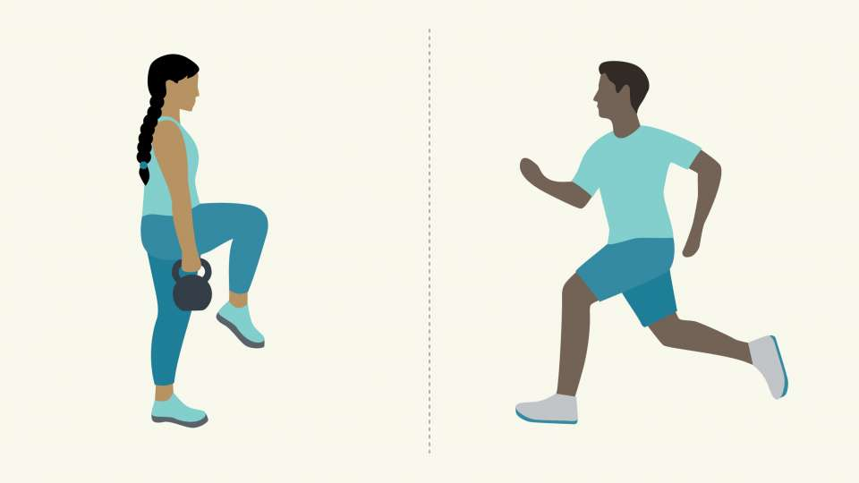 illustration of people lifting weights and running