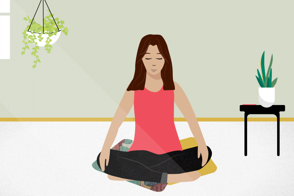 illustration of a woman peacefully meditating with eyes closed