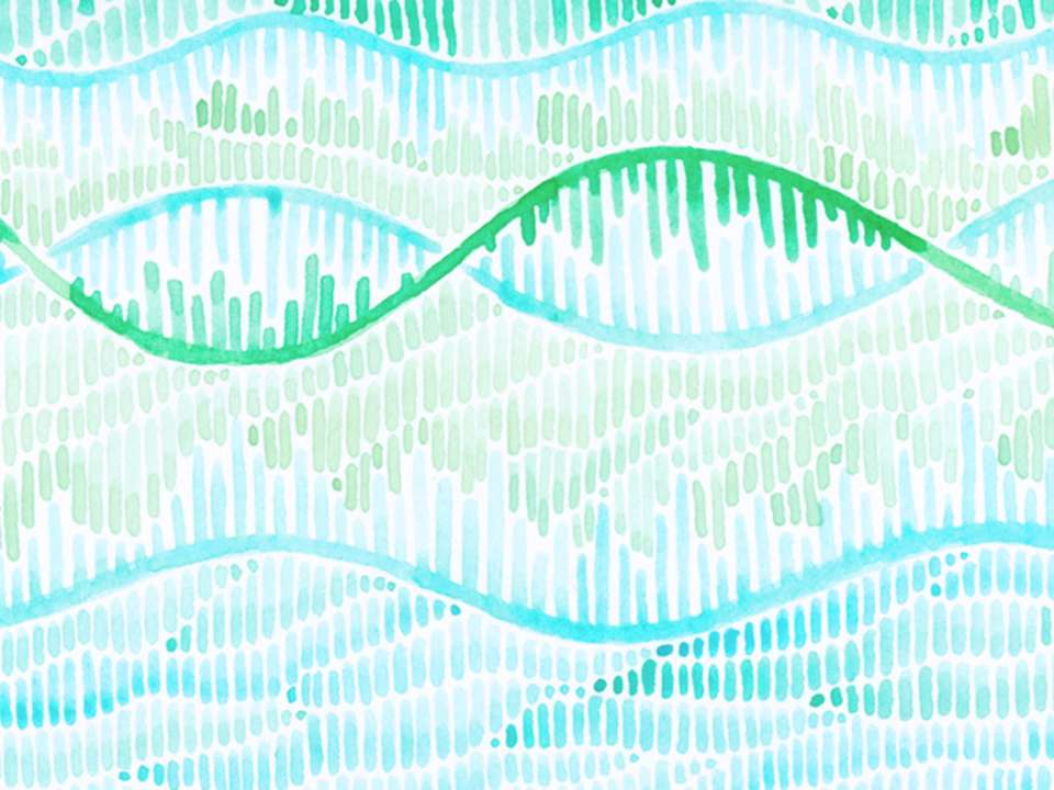 A blue and green watercolor illustration of DNA.